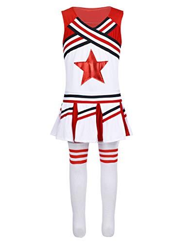 MSemis Disfraz de Animadora para Niñas Uniforme Porrista 3Pcs Chaleco Falda Medias Largas Cheerleading Chicas 4-14 Años Rojo 8-10 Años