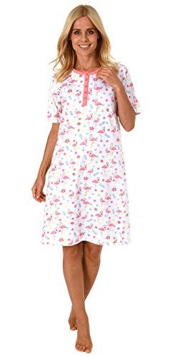 Normann Damen Nachthemd Kurzarm mit Knopfleiste und süssem Flamingo-Tier-Motiv 191 214 90 104, Farbe:rosa, Größe2:36/38