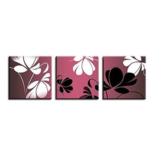 renqiancun Warme kleur thema triptychon abstracte bloemen kunstdruk poster muurkunst wooncultuur handgeschilderd kinderkamer woonkamer olieverfschilderij ingelijst