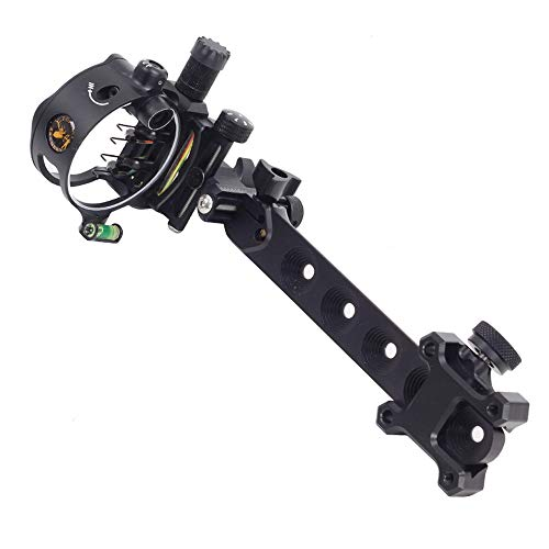 """SHARROW Compound Bow Sight Archery Essential Archer Sight 5-pin .019"""" Fiber Optical Bow Sight Shooting Hunting LED Sight Light Right Hand (Long Black)"""