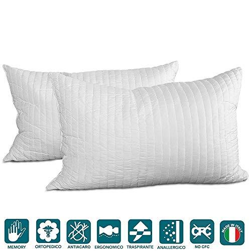 Evergreenweb – beter paar kussens van traagschuim, optimaal voor neksteunen, ademend, 2 hoofdkussens, 40 x 70 cm, voor de nek, geschikt voor alle matrassen en bedden.