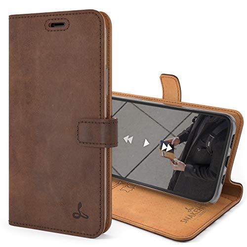 Snakehive iPhone 11 Pro Schutzhülle/Klapphülle echt Lederhülle mit Standfunktion, Handmade in Europa Bye iPhone 11 Pro (Braun)