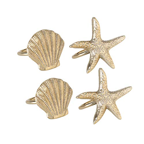 WHW Whole House Worlds Beach Chic Starfish Napkin Rings, Set of 4, Metal, Hand Cast Gold Aluminum, 2.75 x 2.5 Inches Each