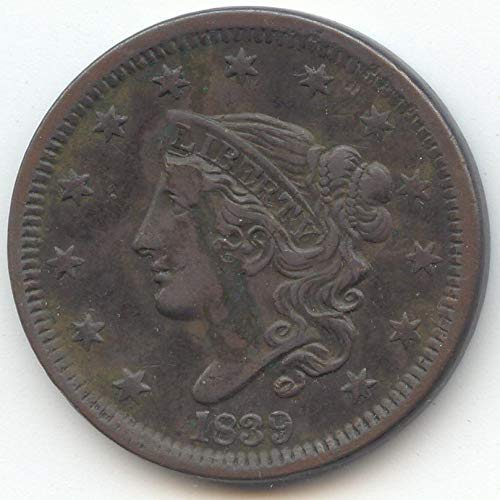 1839 Coronet Head Head of 1838 Large Cent Extra Fine Details