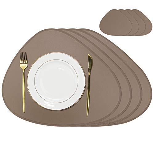 Orla PU Oval Leder Tischsets und Untersetzer Set, 4 Tischsets und 4 Untersetzer für Esstisch (Schlammbraun, 4 Set)