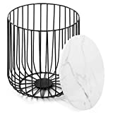 Ejoyous Nesting End Storage Side Table with Wood Top Storage Basket, Retro Coffee Table Iron Frame Tea Table Storage Basket Home Furniture for Bedroom Living Room(Black and White)