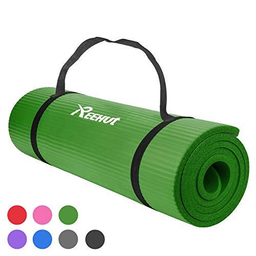REEHUT Colchoneta de Yoga de NBR de Alta Densidad y Extra Gruesa de 12mm Diseñada para Pilates, Fitness y Entrenamiento - con Correa de Hombro 180cm x 61cm(Verde)