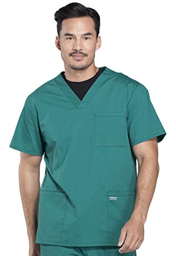 Workwear Professionals Men Scrubs Top V-Neck WW695, XL, Hunter Green