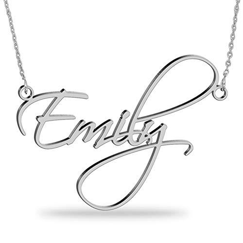 JOELLE JEWELRY Namenskette 925 Sterling Silber - Personalisiert mit Ihrem eigenen 2 Namen mit Herzform beliebiger Name für Damen Geburtstag Valentines Day Jahrestag Damen Schmuck