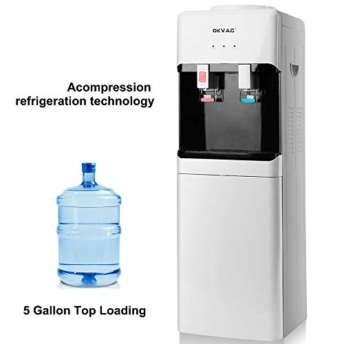 OKVAC Water Cooler Dispenser Top Loading 5 Gallon Freestanding Water Dispenser with Storage Cabinet 2 Temperature Setting Stainless Steel White