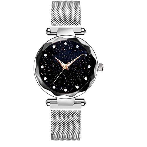 LEEDY Armbanduhr Uhren Starry Sky Watch Magnetband Frauen Quarz-Armbanduhr Schlichte Elegante Damenuhr (Silber)