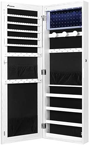 Nicetree 6 LEDs Jewelry Armoire Organizer Wall Door Mounted Jewelry Cabinet with Full Length product image