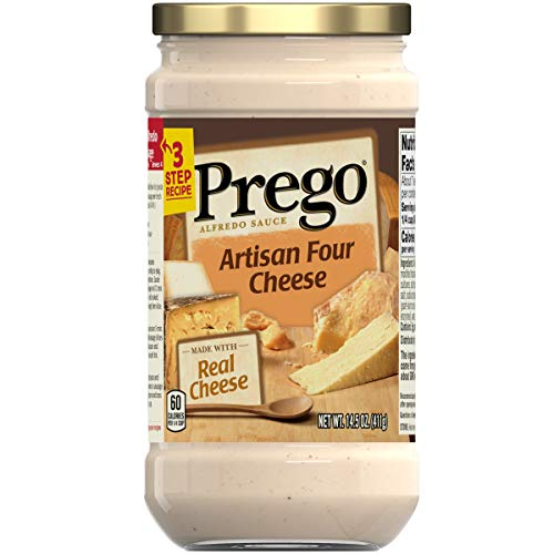 Prego Pasta Sauce, Four Cheese Alfredo Sauce, 14.5 Ounce Jar (Pack of 6)