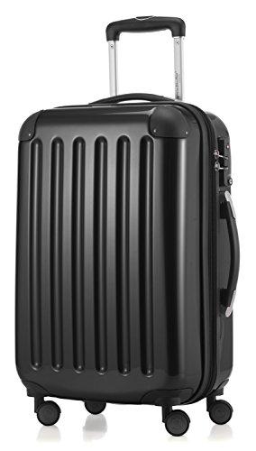 HAUPTSTADTKOFFER - Alex -  4 Doppel-Rollen Handgepäck Hartschalen-Koffer Trolley Rollkoffer Reisekoffer, TSA, 55 cm, 42 Liter, Schwarz