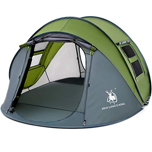 4 Person Easy Pop Up Tent,9.5'X6.6'X52'',Waterproof, Automatic Setup,2 Doors-Instant Family Tents for Camping, Hiking & Traveling,Green