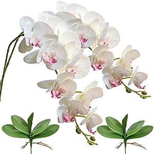 FagusHome 42″ Flores Artificiales de Phalaenopsis 2 Piezas con 2 Paquetes de Hojas Flores de orquídeas Artificiales Plantas de Tallo para la decoración del hogar (A)