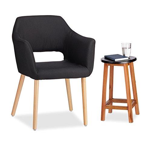 Relaxdays Designer Polstersessel Stoff Bezug weich gepolstert bequem HxBxT 84 x 62 x 56 cm schwarz