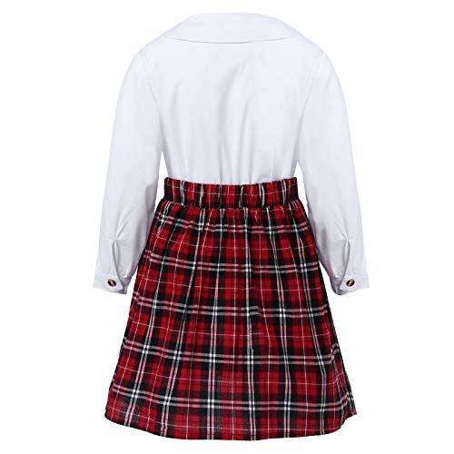 Agoky Conjuntos Niña Falda Plisada de Uniformes Escolar Británica Coreano Japonesa Uniforme de Colegio Algodón Tartán para Niñas Chicas 3-10 Años Blanco 7-8 años
