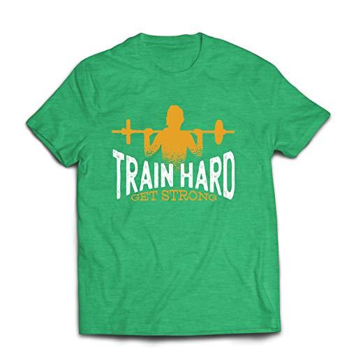 lepni.me Männer T-Shirt Hart trainieren, stark Werden - Motivierende Trainingszitate (Small Heidekrautgrün Mehrfarben)