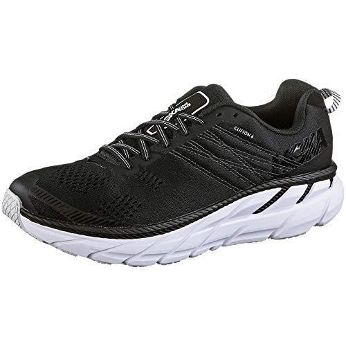 HOKA ONE ONE Mens Clifton 6 Black/White Running Shoe - 9.5