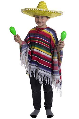 I LOVE FANCY DRESS LTD Déguisement de Méxicain pour Enfant avec Un Poncho à Rayures + Un Sombrero Jaune. Ideal pour Les fêtes de Fin d'école ou Halloween.