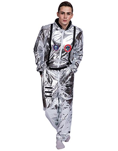 EraSpooky Men's Astronaut Spaceman Costume(Silver, Large)