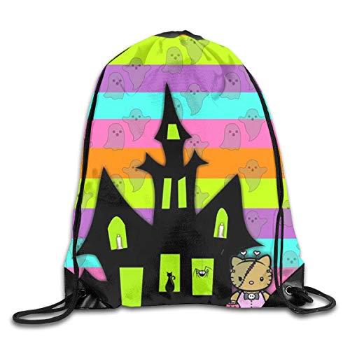 yusanbaihuodian Kordelzug Rucksack Spooky Hello Kitty Rucksack Umhängetaschen Kleiner Rucksack für Männer Frauen
