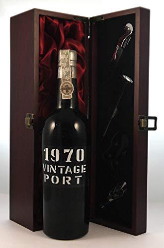 Gonzalez Byass Vintage Port 1970 en una caja de regalo forrada de seda con cuatro accesorios de vino, 1 x 750ml