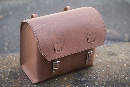 Sale!! London Craftwork Super Large Bicycle Bag Genuine Leather Saddle/Handlebar/Frame Bag (Antique Brown) 23 x 19.5 x 11cm XXL-RAW