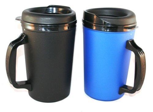 GAMA Electronics 2 ThermoServ Foam Insulated Coffee Mugs 20 oz (1) Blue & (1) Black
