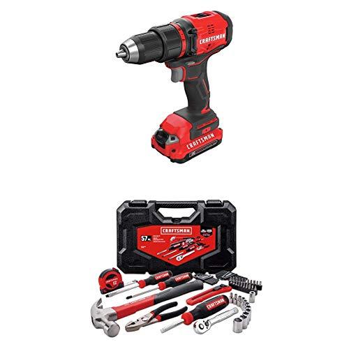 CRAFTSMAN V20 Cordless Drill/Driver Kit, Brushless with Mechanics Tools Kit/Socket Set, 57-Piece (CMCD710C2 & CMMT99446)