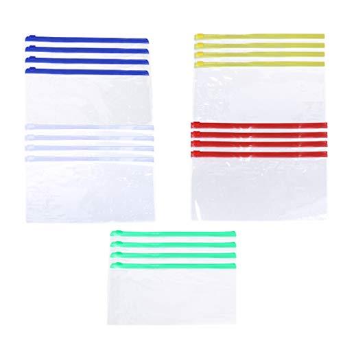 TOYANDONA 20pcs Reißverschlusstasche Datei Taschen klar tragbare Reisetaschen für Bürobedarf Kosmetik Reisen