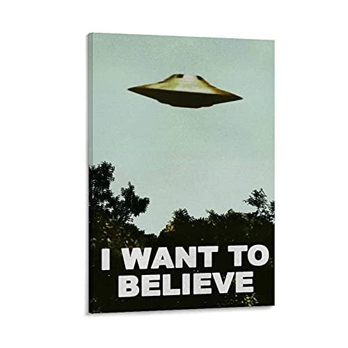 KKAA I Want to Believe Poster UFO Artwork Alien TV Retro 90s Poster Poster dekorative Malerei Leinwand Wandkunst Wohnzimmer Poster Schlafzimmer Malerei 16x24inch(40x60cm)