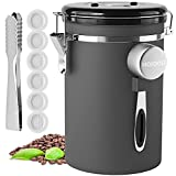 HAIOOU Airtight Coffee Canister, 22OZ Large Stainless Steel Coffee Bean Storage Container with Date Tracker, Measuring Scoop, CO2 Releasing Valves and Mini Tongs for Beans, Grounds and more - Gray