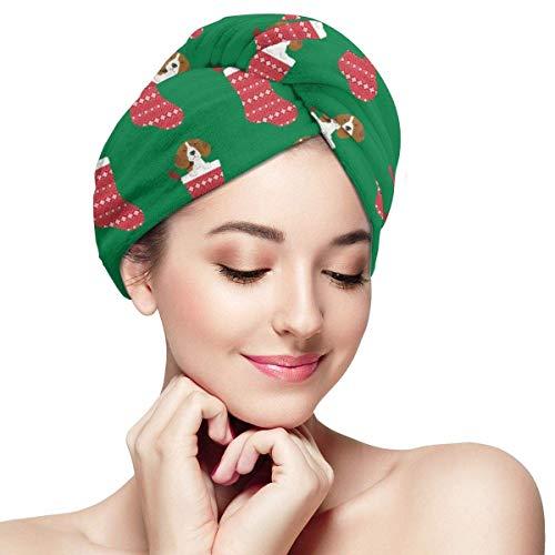 N/A Beagle Tissu de chaussettes mignon Beagles en tissu de Noël pour les fêtes de Noël – Moyen vert - Bonnet de douche anti-rizz absorbant torsion serviette de douche