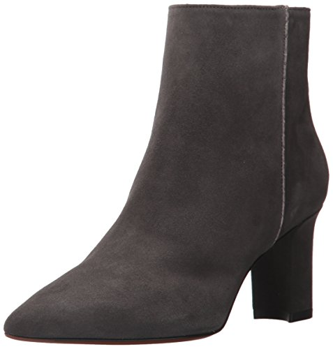 Aquatalia Women's MAIA Suede/Snake Ankle Boot, Anthracite, 9.5 M US