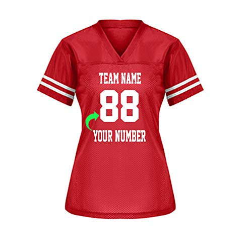 Customize Your Own Football Jersey with Your Name and Team Number Personalized & Customized Jersey (True Red-Ladies)
