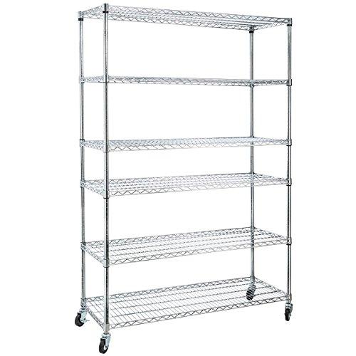 Home-it 6 Shelf Commercial Adjustable Steel Shelving Systems On Wheels Wire Shelves, Shelving Unit or Garage Shelving, Storage Racks