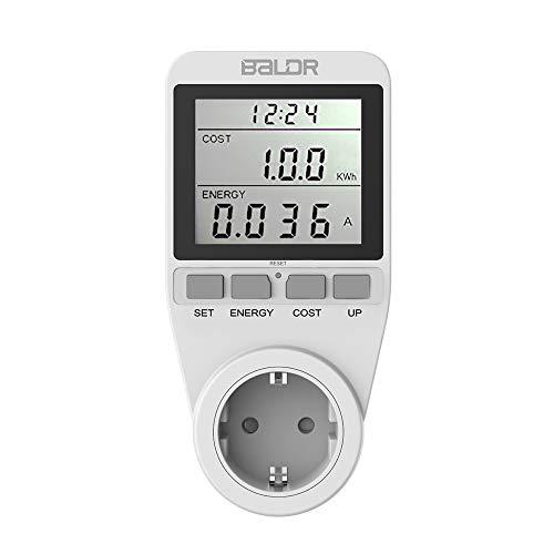 BALDR B3091 Strommessgerät 3680W, Hintergrundbeleuchtung Stromzähler Für Steckdose, Energiekostenmessgerät Mit Großem LCD-Bildschirm und Maximale Überlastsicherung, Stromzähler für Zuhause