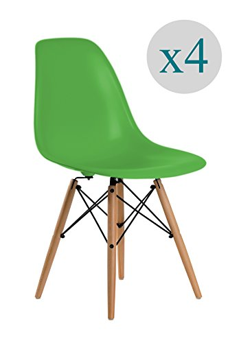 Aryana Home - Pack de 4 Chaise (inspiration tower eame) Vert