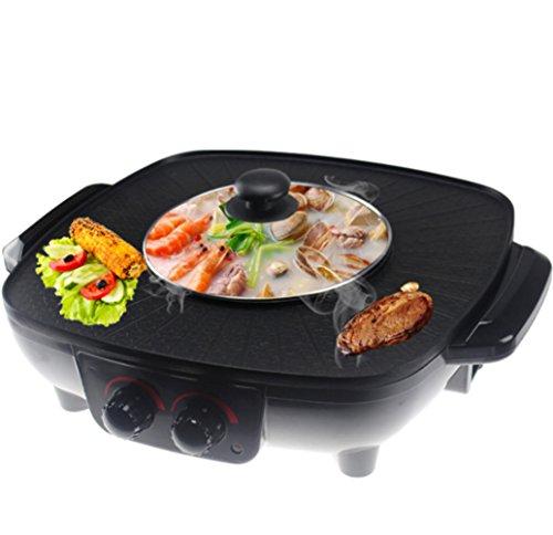 LJIE Hot Pot Coreano Barbecue Doppia Pentola, Fornello Integrato, Pentola Elettrica Calda Elettrica Barbecue Teglia