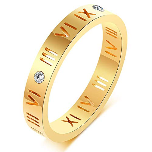 Nanafast Openwork Roman Numerals Ring for Women Girls of Stainless Steel & CZ Setting Gold 6