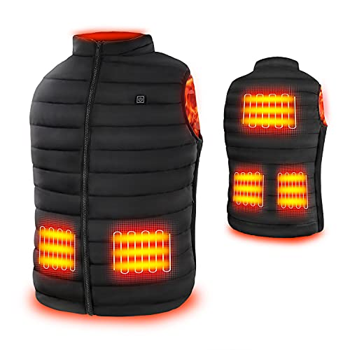 Rrtizan Heated Vest for Mens and Womens, USB Electric Heating Vests, 3 Temperature Levels Electrically Heated Jackets, Size Adjustable, Washable, Winter Warm Vest Coats for Hunting, Outdoor, Camping