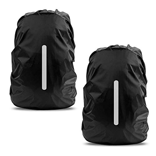 LAMA 2pcs Waterproof Rain Cover for Backpack, Reflective Rainproof Protector for Anti-dust and Anti-Theft M 26L-40L Black