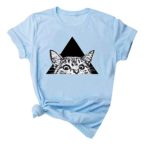 Kledbying T-Shirt Women's Letters Print Short Sleeve Casual Tops Tees Cute Cat Print Shirts Sports Tee Blue