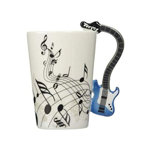 ufengke Creativo Guitarra Azul Tazas Mug De Porcelana Tazas De Café Personalizadas, Notas Musicales Taza De Té De Cerámica, Para Regalo, La Familia Y La Oficina