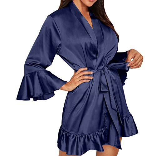 TEBAISE Nachthemden Damen Satin Morgenmantel Lang Kimono Langarm Bademantel Schlafanzug Nachtwäsche V Ausschnitt Sleepwear Braut Robe mit Gürtel S-3XL für Karneval Party