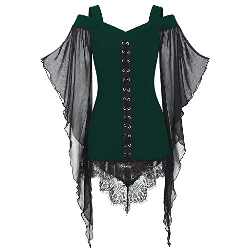 NHNKB Disfraz de Halloween para mujer, steampunk, blusa, corsé, gótico, top manga murciélago, vestido sin hombros, camiseta tummy, corpiño verde, M