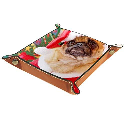 YATELI Kleine Aufbewahrungsbox,Herren-Valet-Tablett,Frohe Weihnachten Pug,Leder Catchall Organizer für Coin Box Key Schmuck