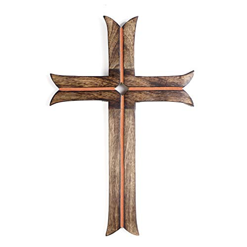 WILLART Decorative Rustic Brown Wooden Hanging Wall Cross, Rustic Cross for Wall of Crosses, Religious Home Decor, Gift Idea for Birthdays, Easter, Christmas, Weddings (Dimension : 15'x 10'x 0.50')